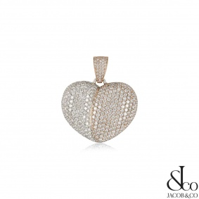 Jacob & Co White & Rose Gold Diamond Heart Pendant